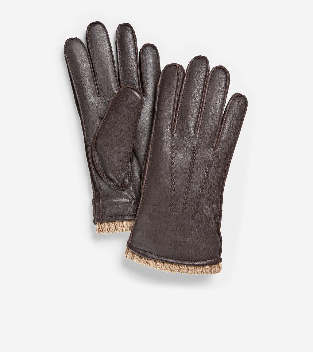 MENS GRANDSERIES Leather Knit Cuff Glove