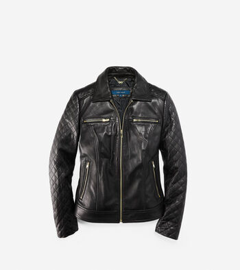 Shirt Collar Smooth Quilted Leather Jacket