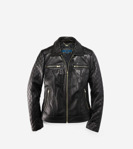Accessories & Outerwear > Shirt Collar Smooth Quilted Leather Jacket