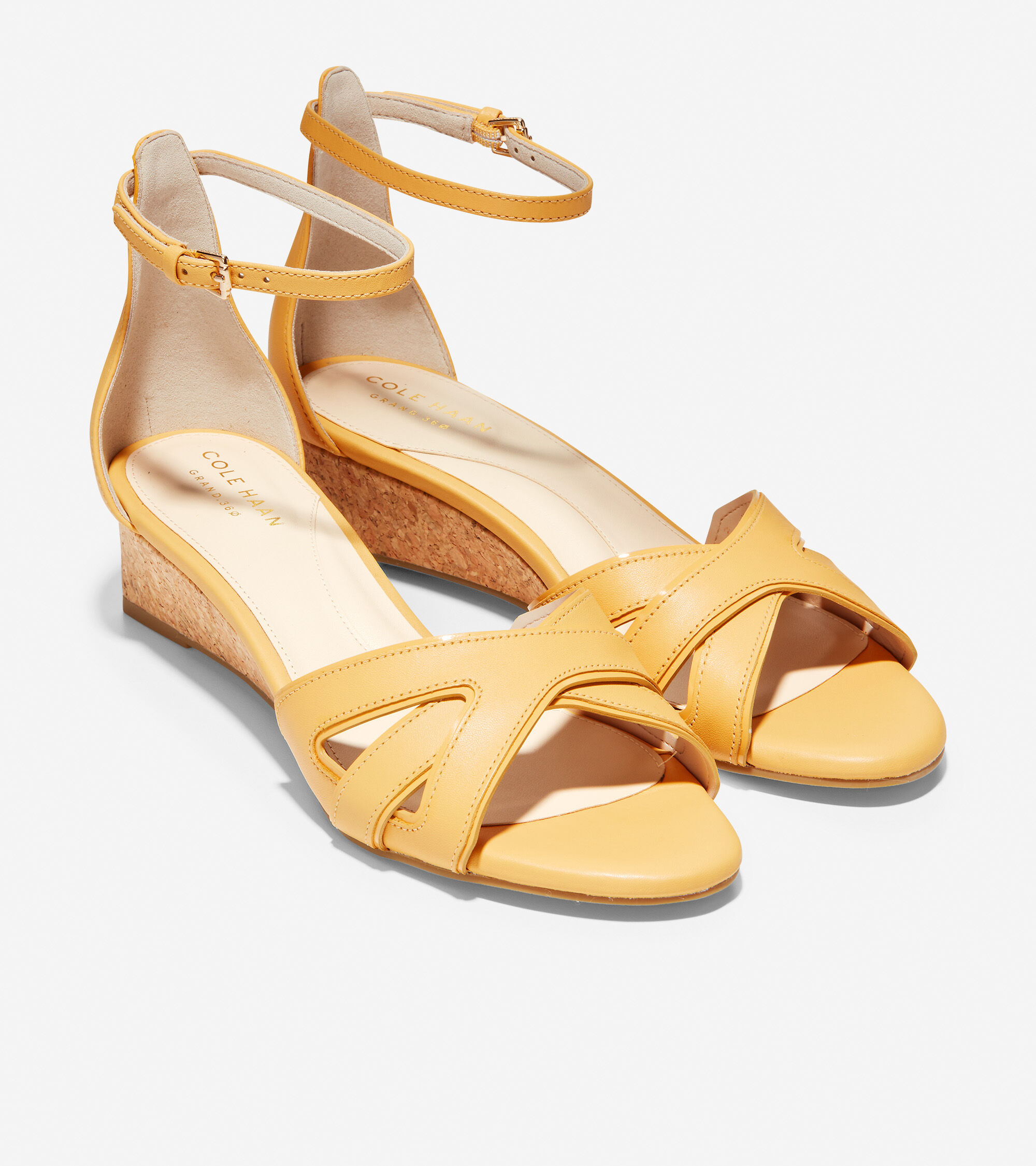 df0571999 Cole Haan Hana Grand Wedge in Sunset Gold Leather-Patent Cork ...