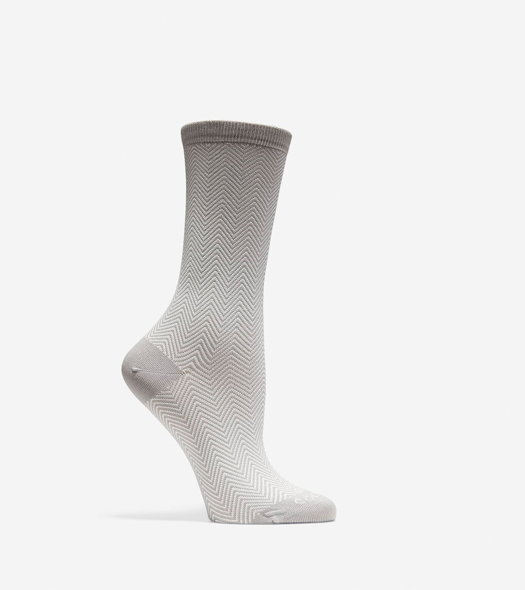 Womens Microfiber Zigzag Crew Socks