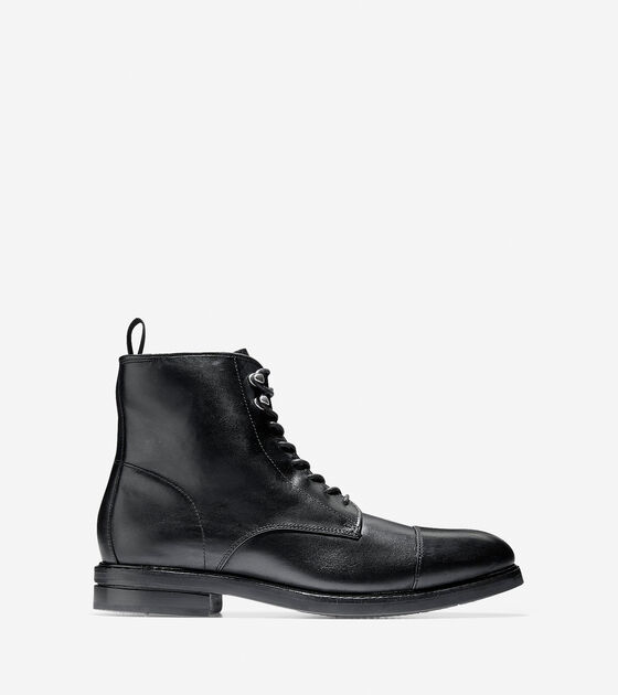 42924bf6885 Men's Wagner Grand Waterproof Cap Toe Boots in Black | Cole Haan