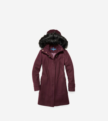 Wool Twill Hooded Duffle Coat