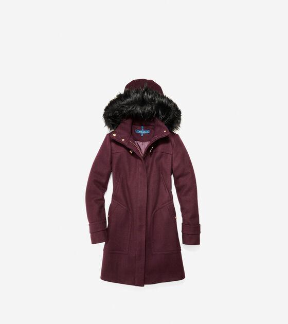 Outerwear > Wool Twill Hooded Duffle Coat