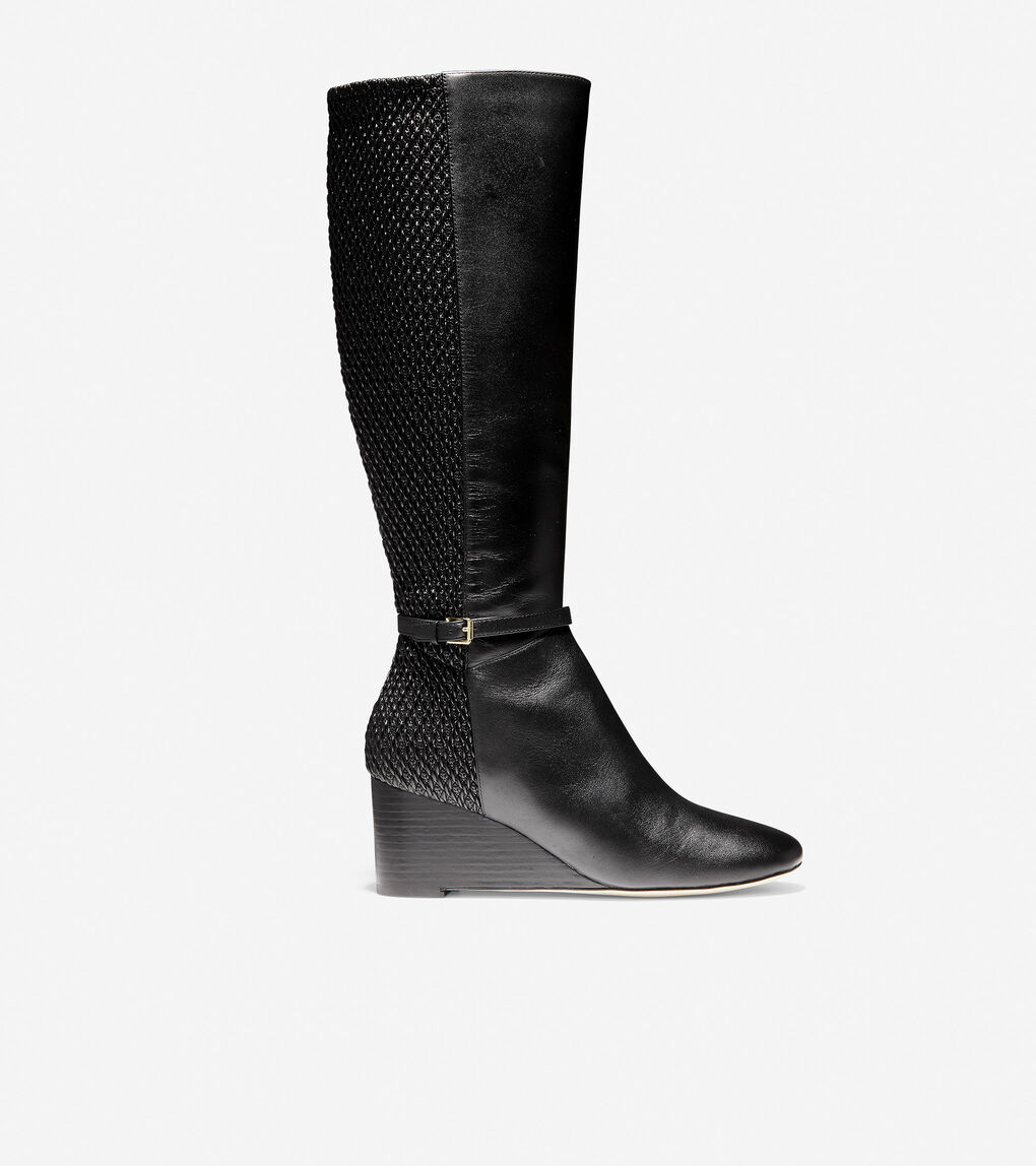 Women S Lauralyn Stretch Wedge Boot 65mm In Black Leather Cole Haan