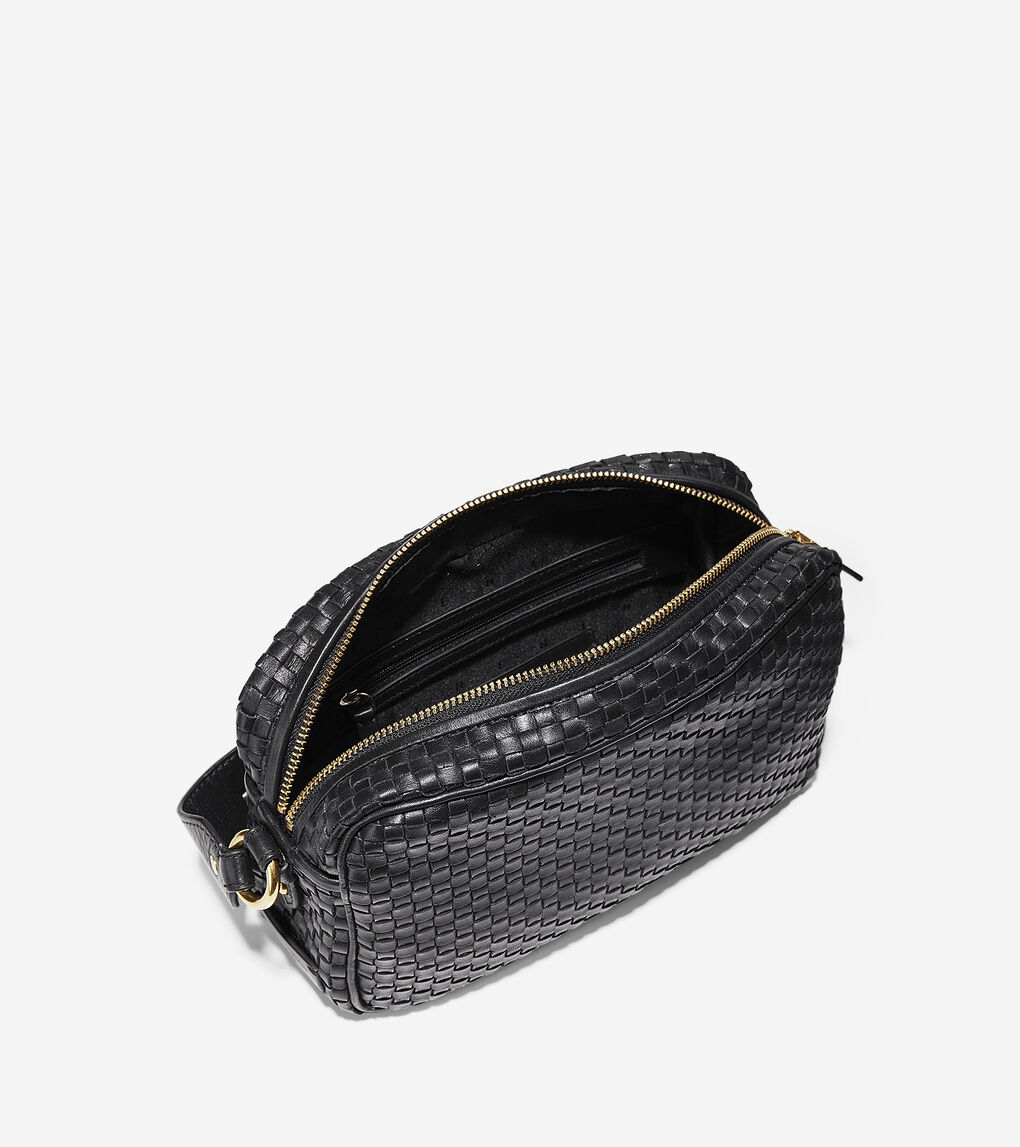 c000830cc8 Women's Zoe Woven Camera Bag in Black Leather | Cole Haan US