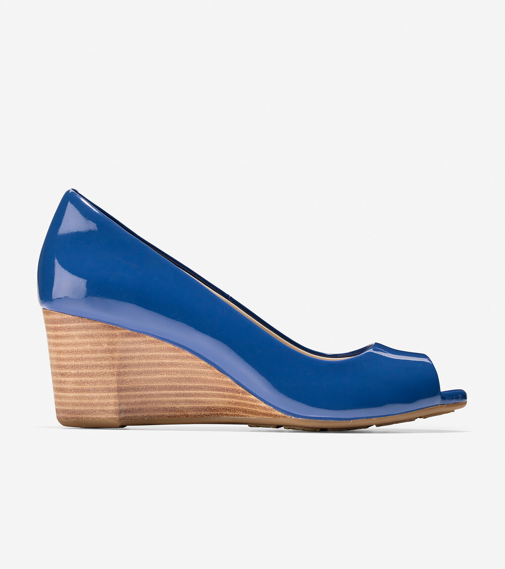af097f196 Women's Sadie Open Toe Wedge (65mm) in Navy Peony Patent | Cole Haan US