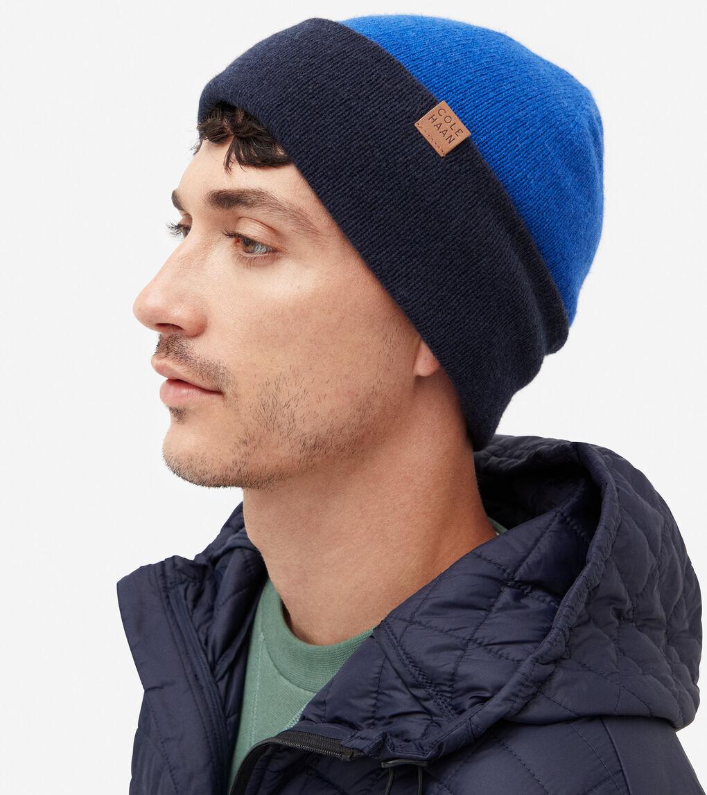 MENS Colorblock Reversible Knit Beanie