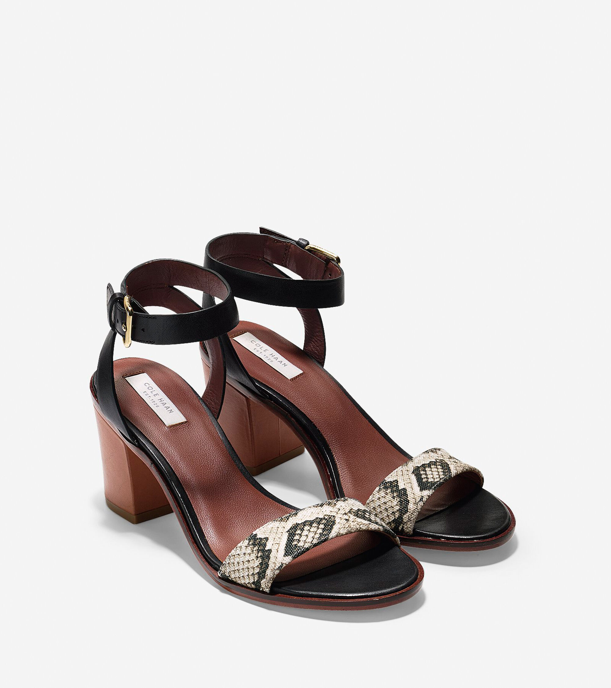 8397d7307181 Cambon Mid Sandals 65mm in Black-Roccia Snake