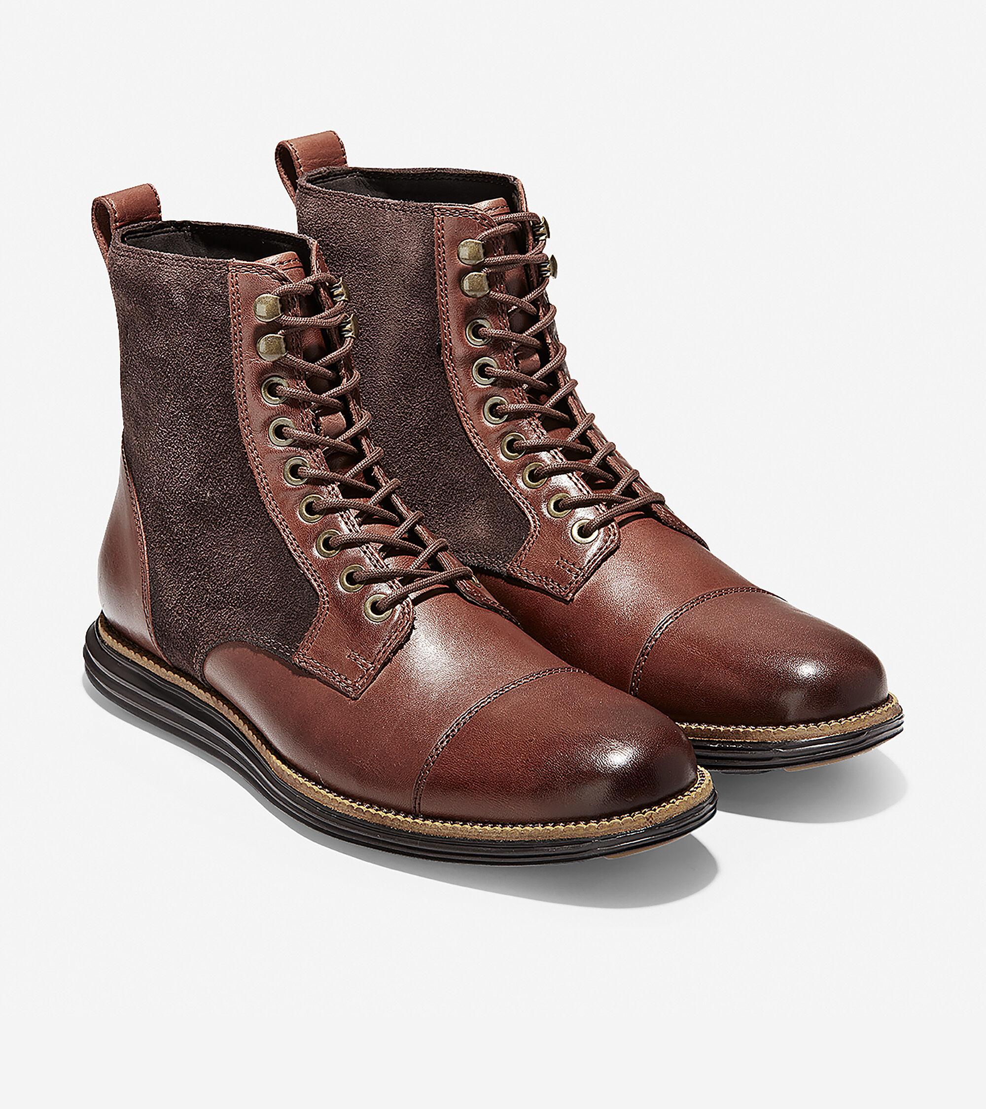 Cap Toe Boot in Brown-black