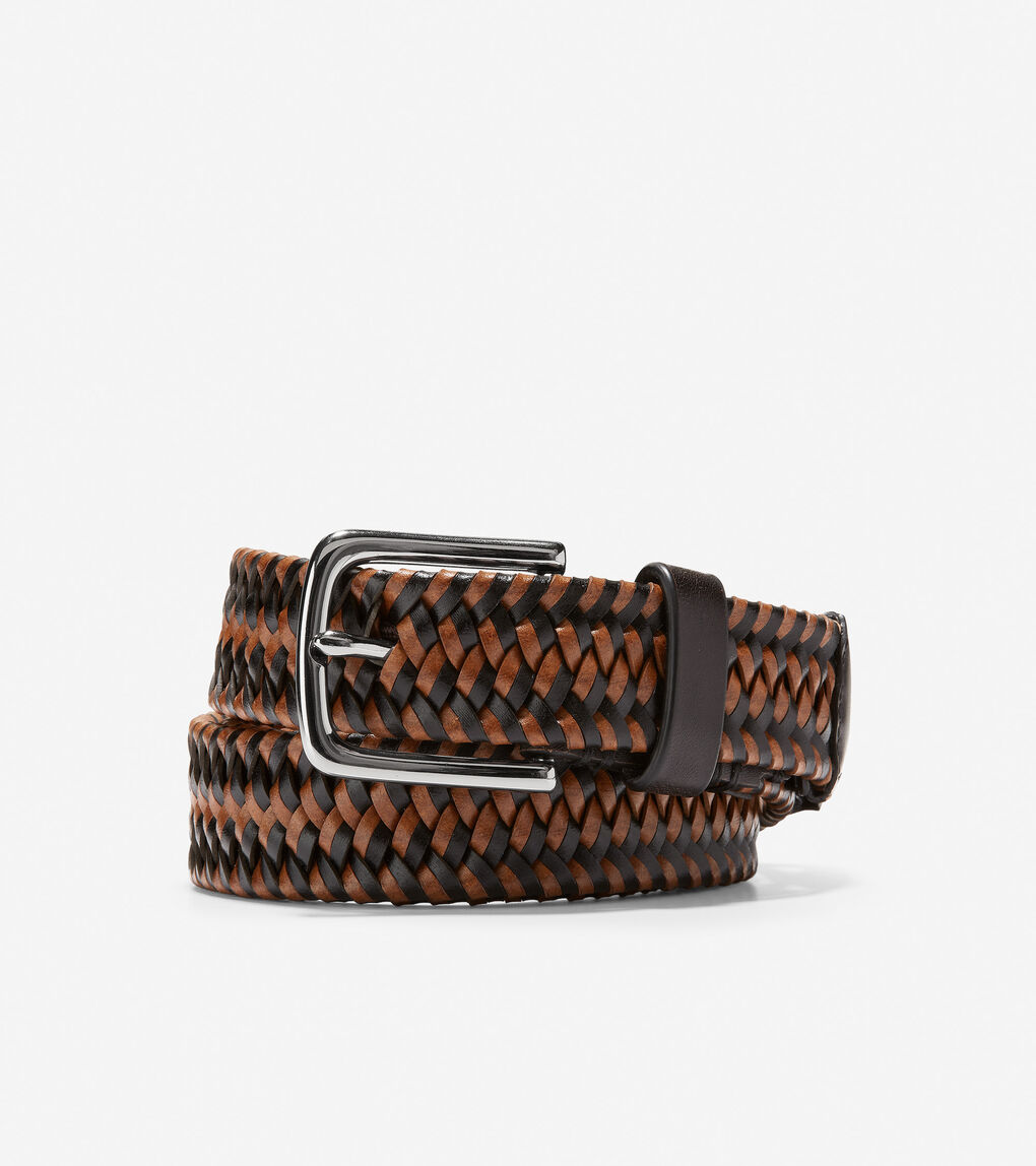 Mens Two Tone 32mm Braided Belt