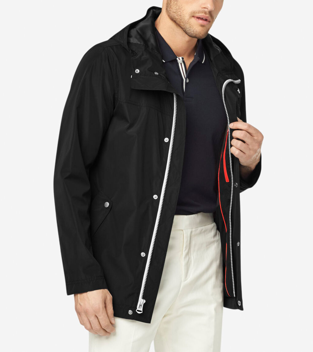 6626af7bc8c Men's Hooded Rain Jacket in Black | Cole Haan US