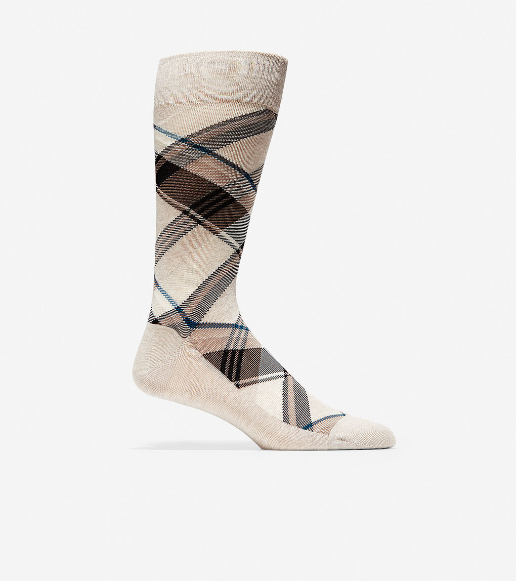Mens Diagonal Plaid Crew Socks
