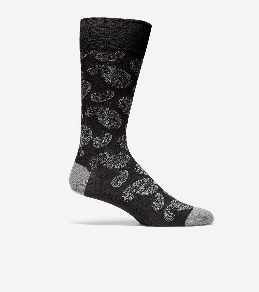 Mens Large Paisley Crew Socks