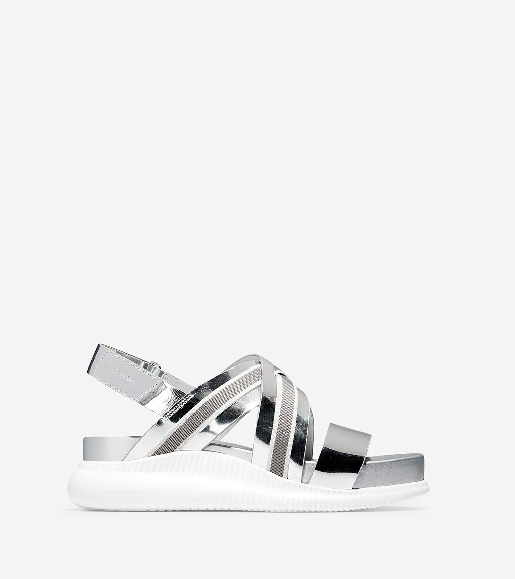d96e2d74915 Women's 2.ZERØGRAND Criss Cross Sandal (30mm) in Argento Specchio ...