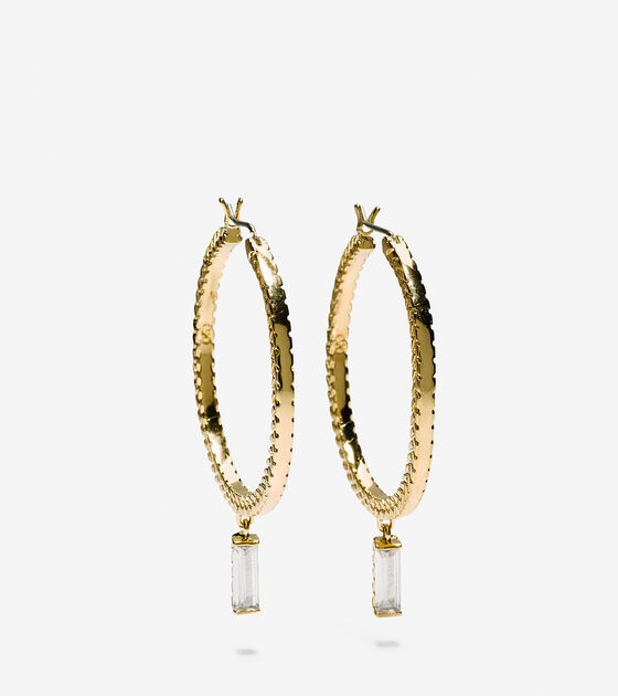 Accessories Cubic Zirconia Baguette Hoop Drop Earrings