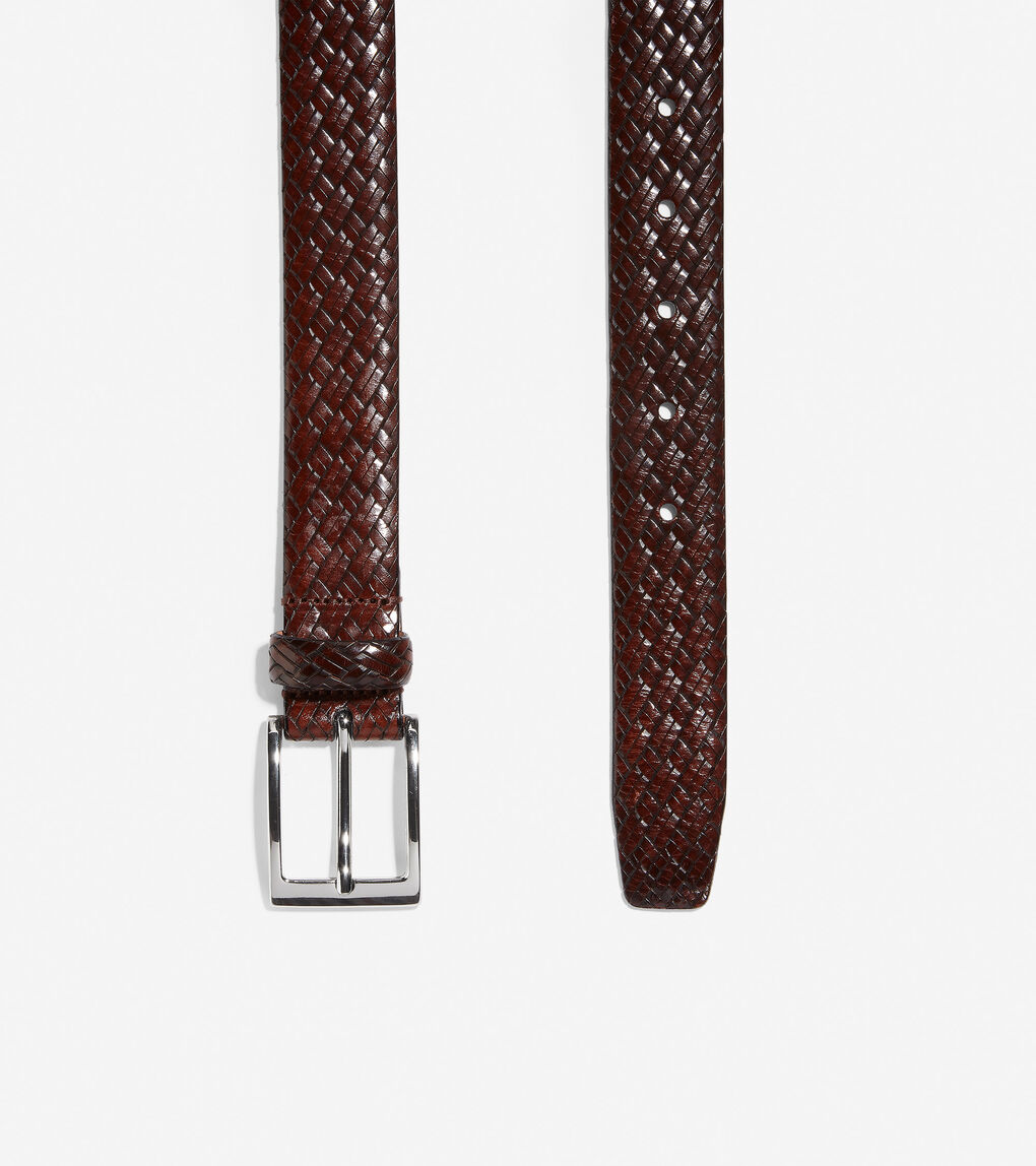 Mens Made In Italy Embossed Leather Belt