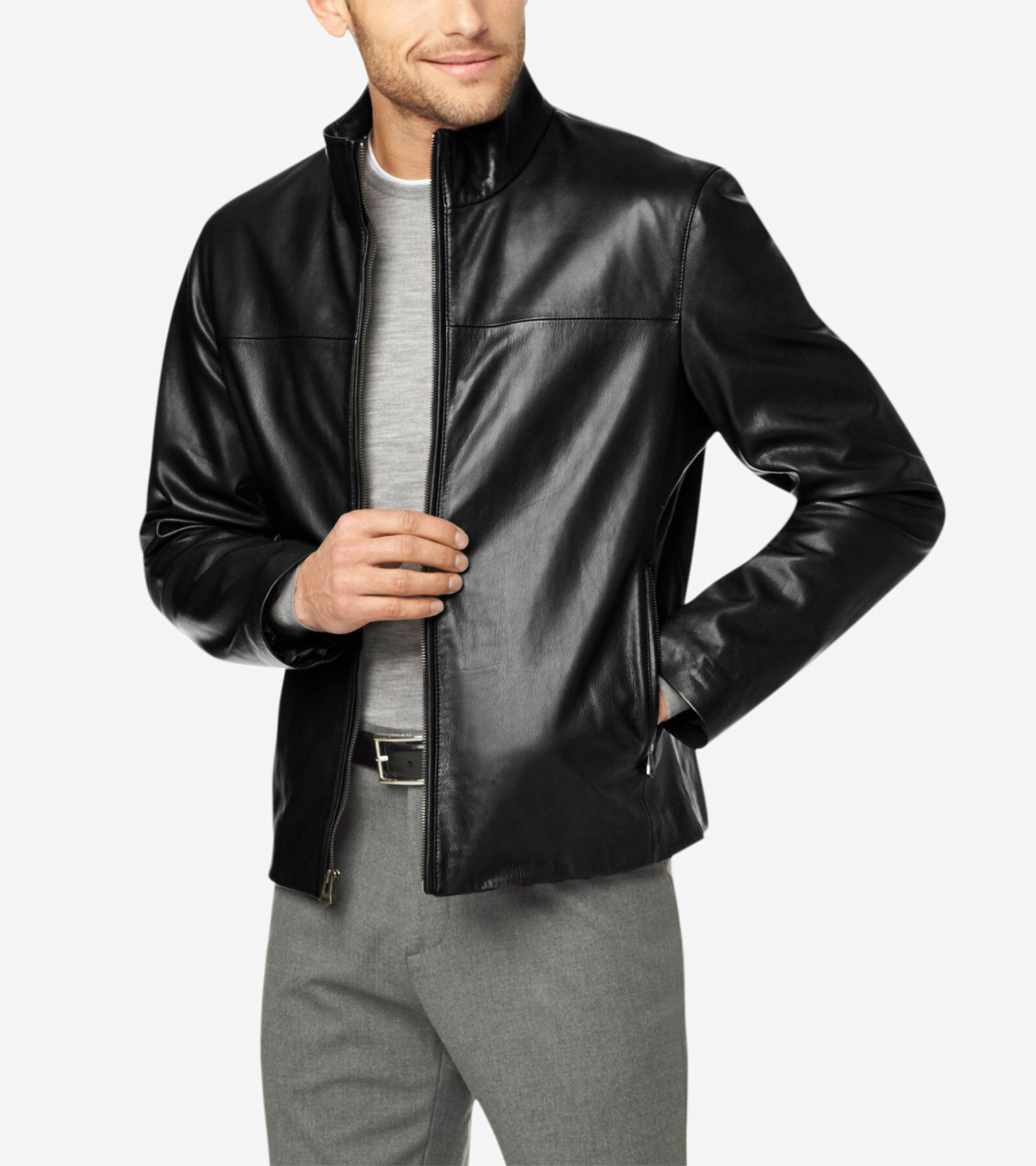 Washed Leather Jacket in Black Leather
