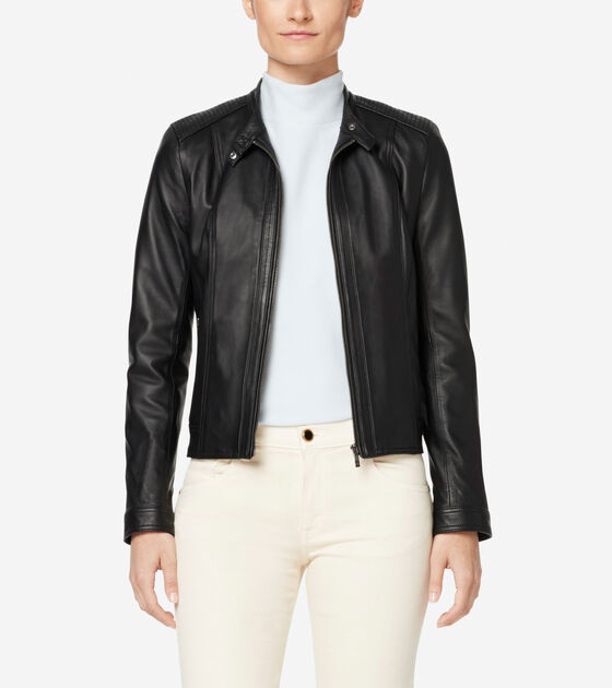 Outerwear > Italian Leather Modern Racer Jacket