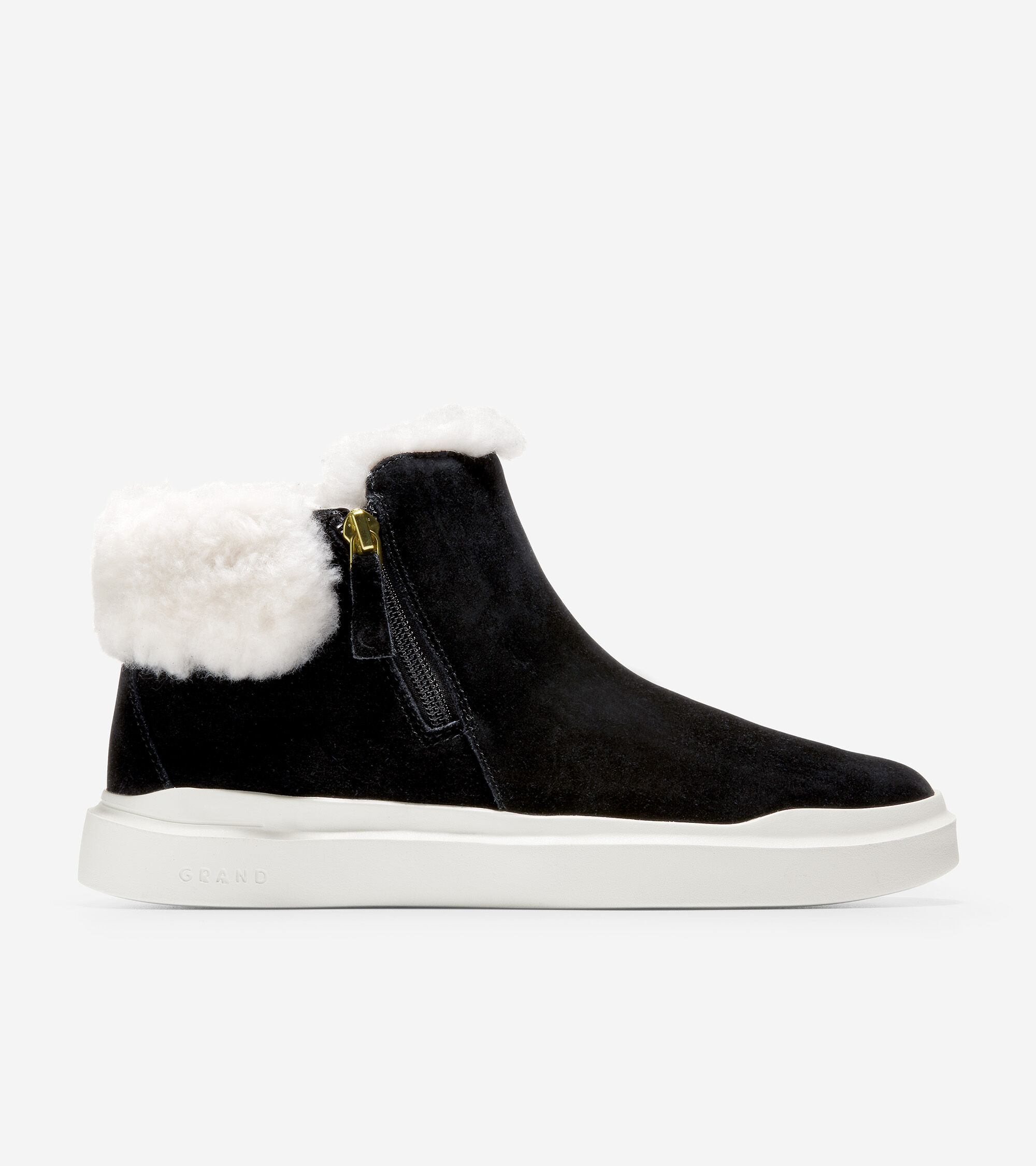 Waterproof suede uppers with a faux-shearling lining. Side-zip closure. Welt detailing. Ortholite® foam footbed for ultimate comfort and breathability. Lightweight EVA cupsole with textured outsole for added traction.