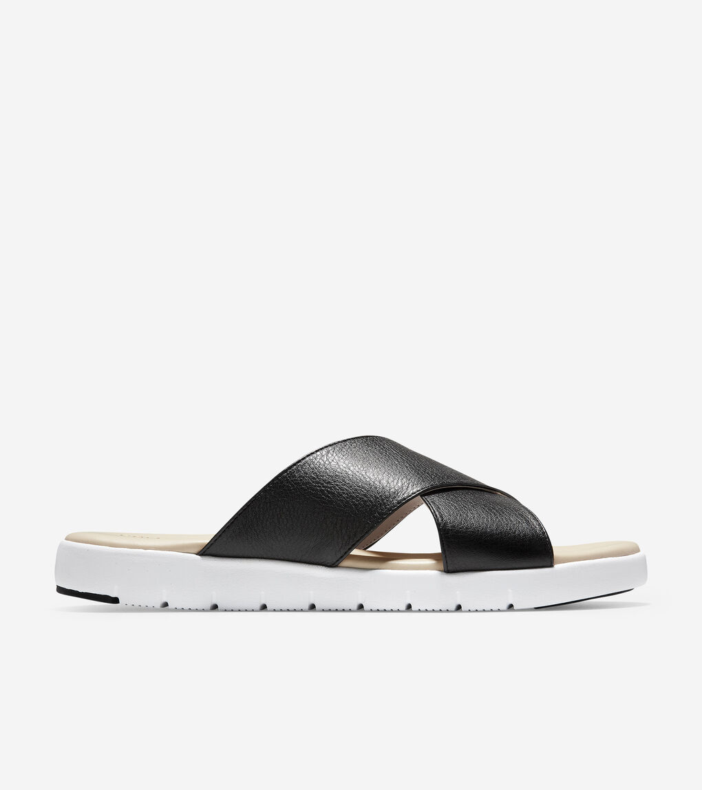 Womens ZERØGRAND Criss Cross Slide Sandal