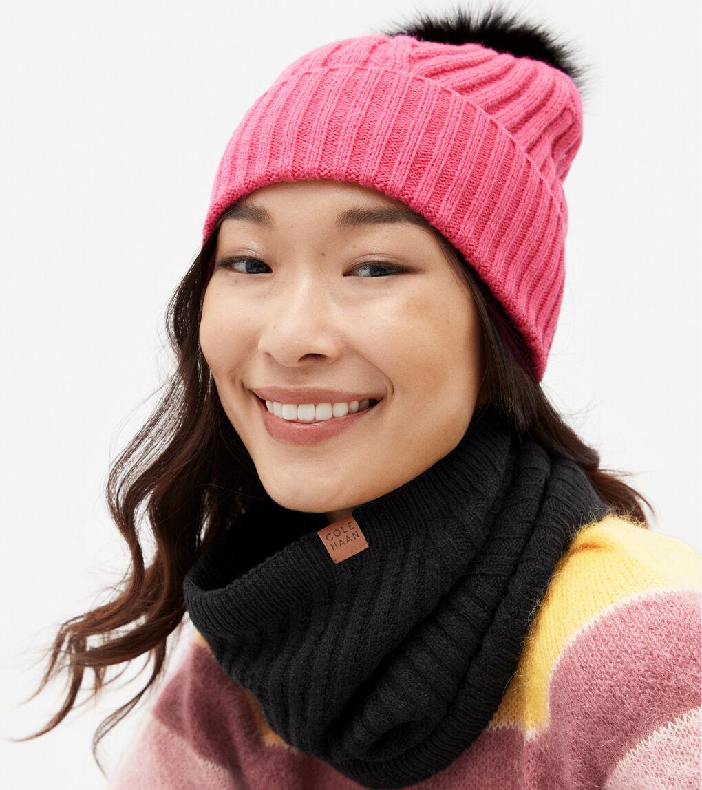 WOMENS Textured Knit Pom Pom Beanie