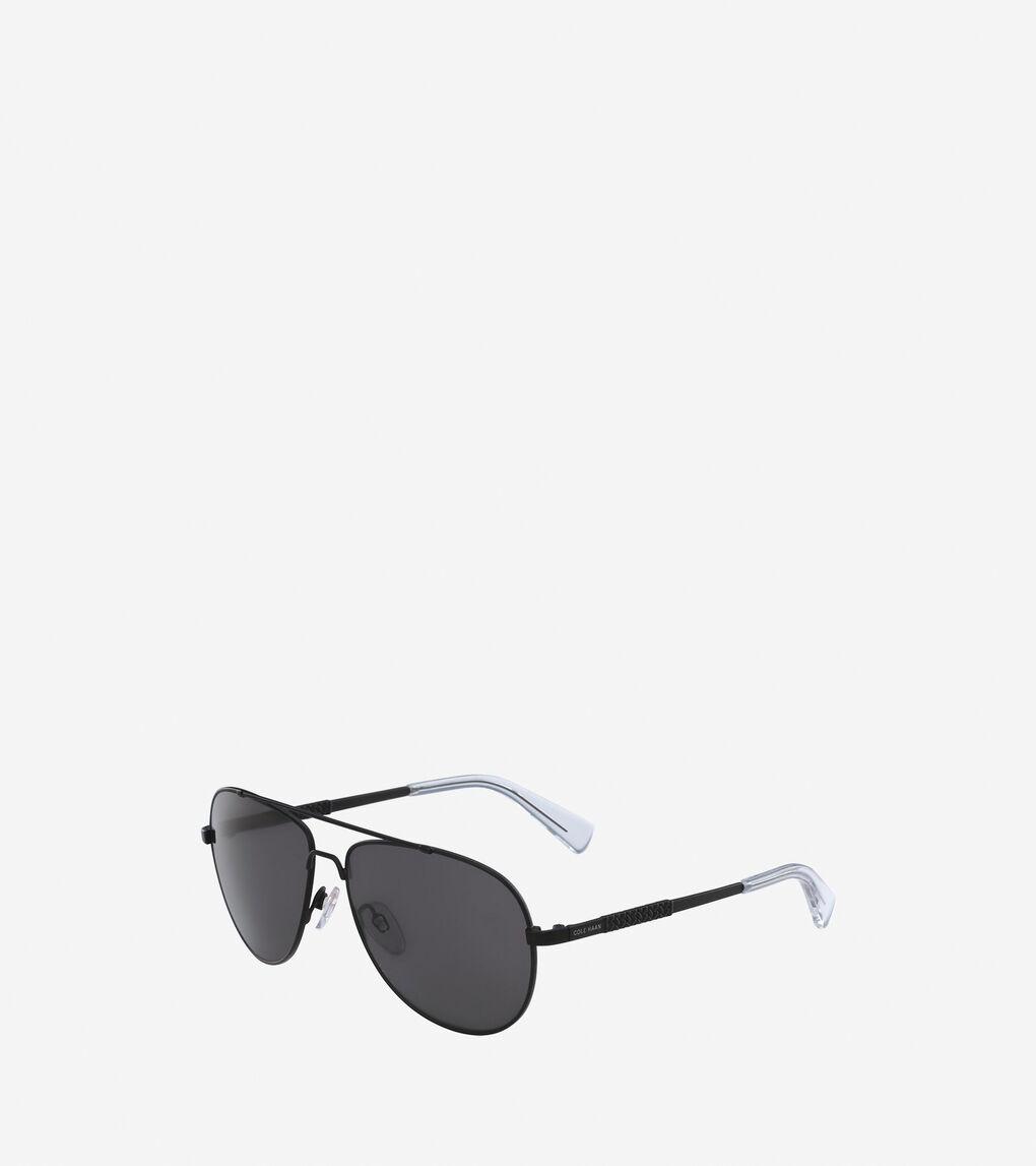 364bae4725a0 Men's Metal Weave Aviator Sunglasses in Black | Cole Haan US