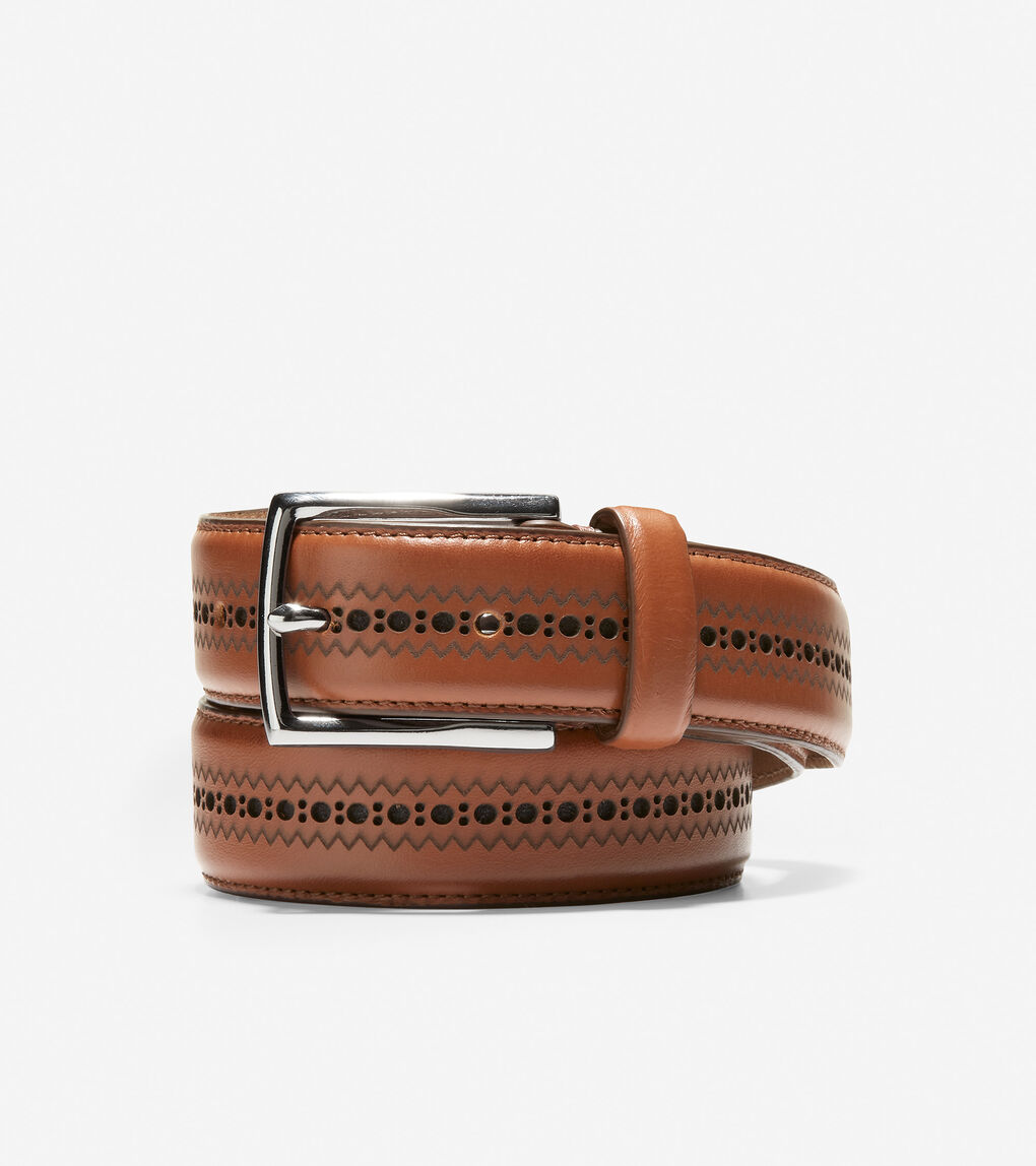 MENS Feathered Edge Perforated 32mm Belt
