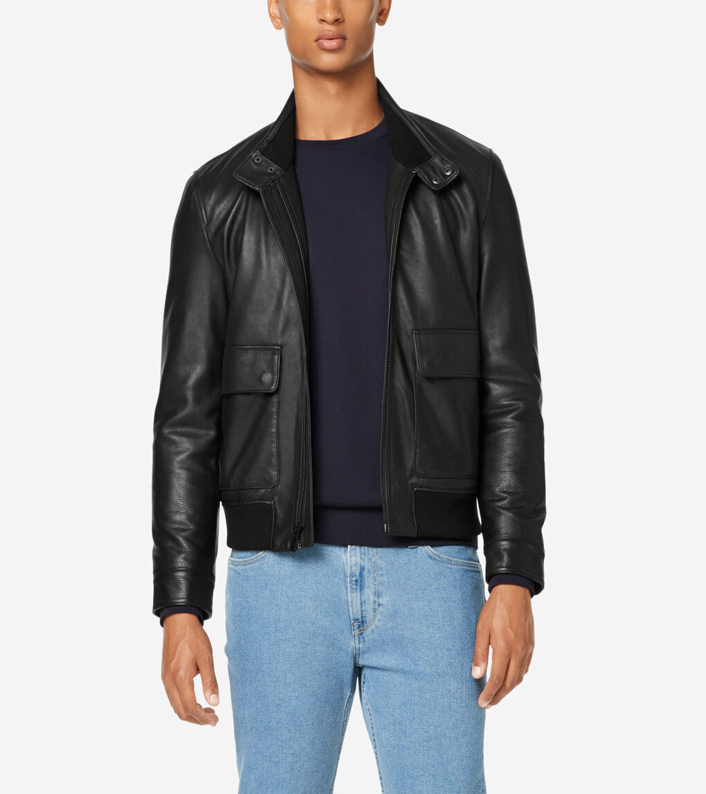 Mens Leather Jacket with Knit Hem