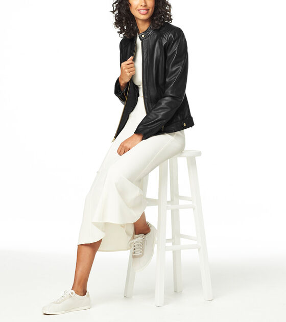 Outerwear > Smooth Leather Racer Jacket
