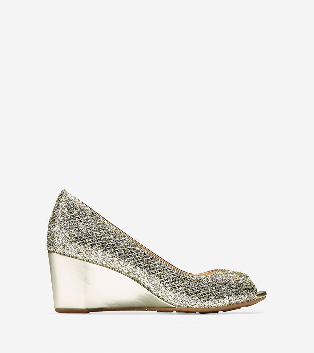 76c8f6c66e6d Sadie Open Toe 65mm Wedges in Gold-Silver Glitter | Cole Haan