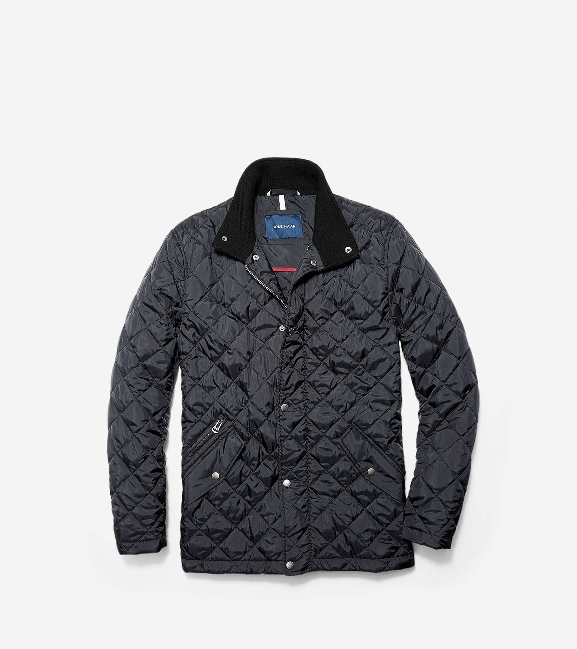 Mens Quilted Stand Co Jacket In Black Cole Haan