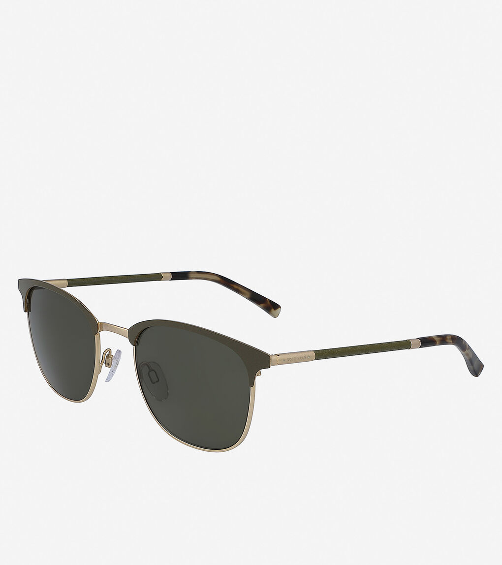 Mens Leather Square Sunglasses