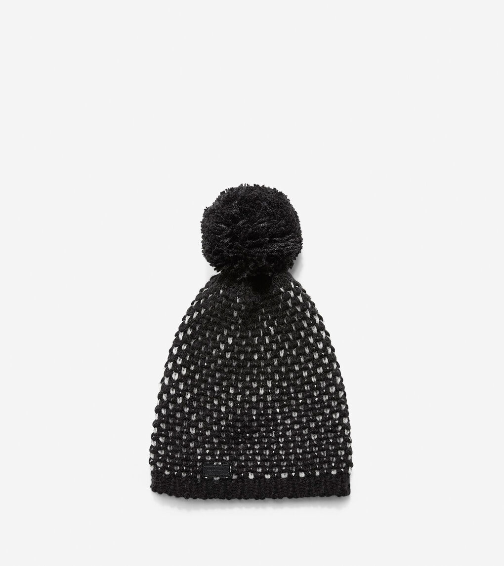 5438a3dba Women's Chessboard Tuck Stitch Beanie Hat in Black-Ivory | Cole Haan