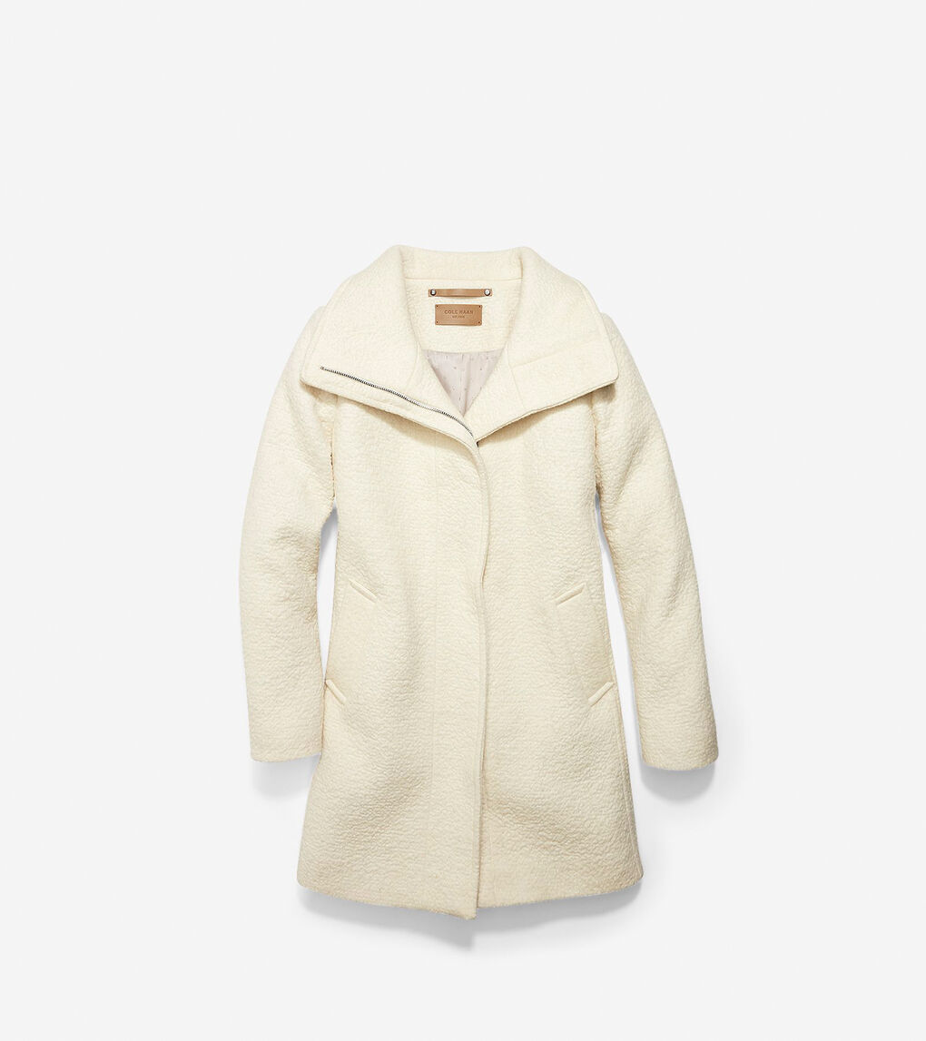 Womens Crumbled Wool Funnel Collar Jacket