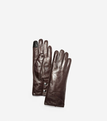 Leather Gloves with Logo Button