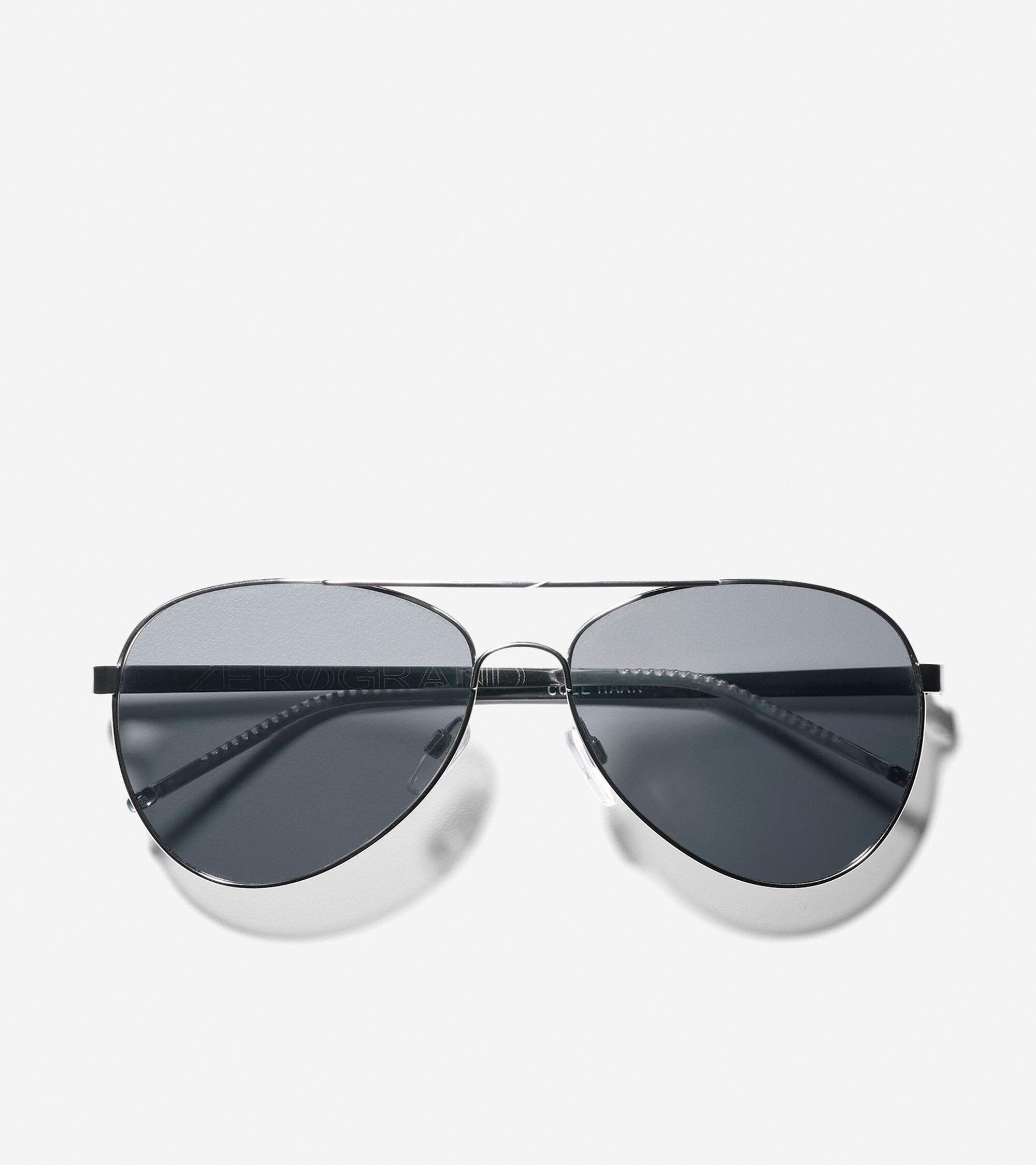 Men\'s Metal Aviator Sunglasses in Silver | Cole Haan
