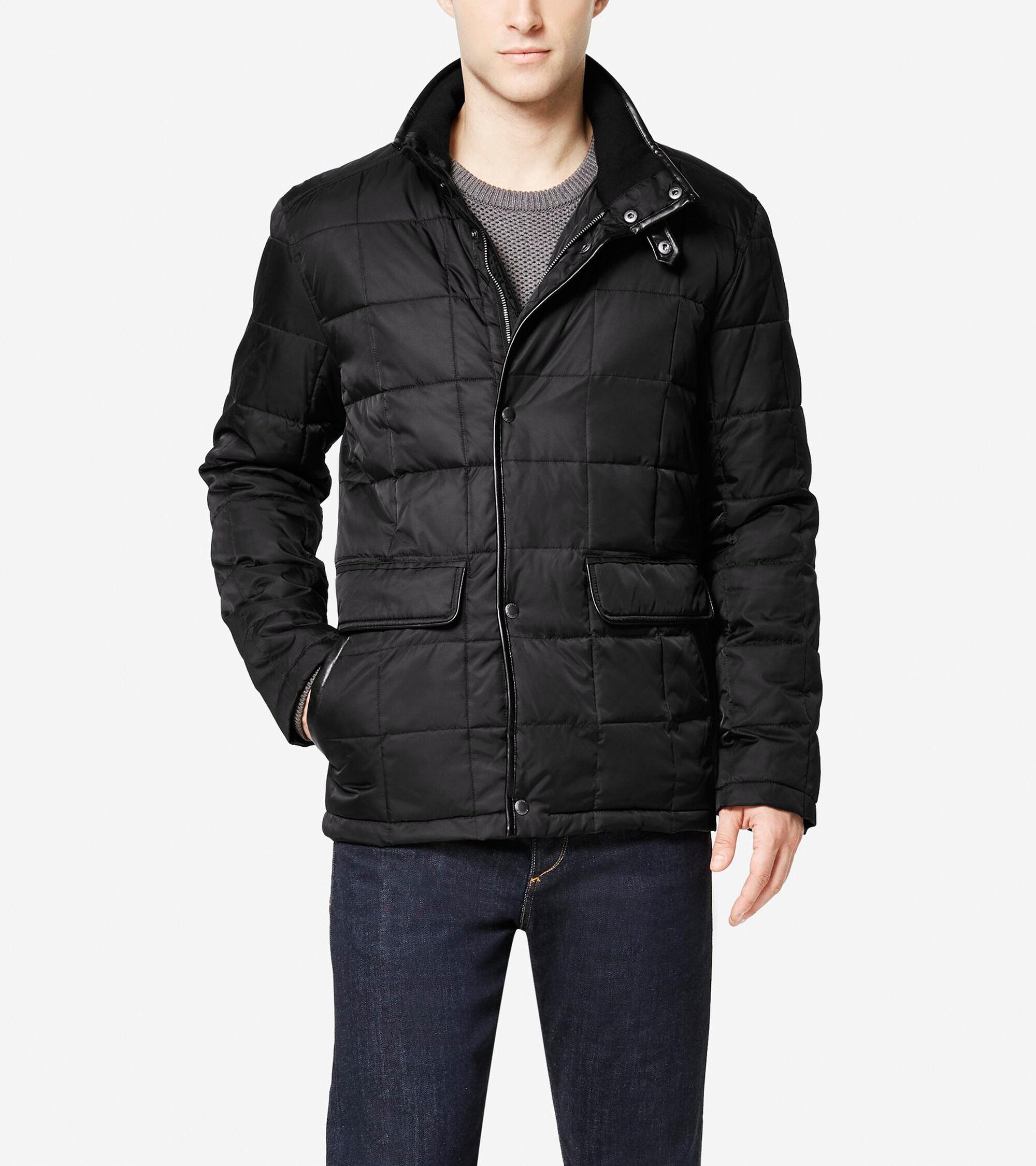 Men S Signature Box Quilted Coat In Black Cole Haan