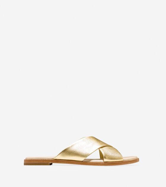 3e4b2761576 Anica Criss Cross Sandals in Gold Metallic