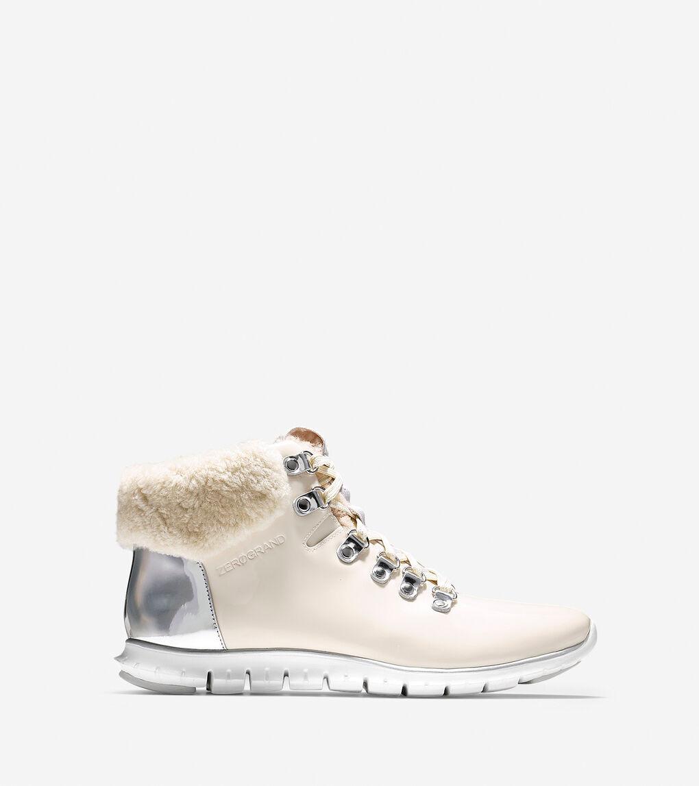272cbe7eeea Women's ZERØGRAND Hiker Boot in Optic White Waterproof Patent-silver ...