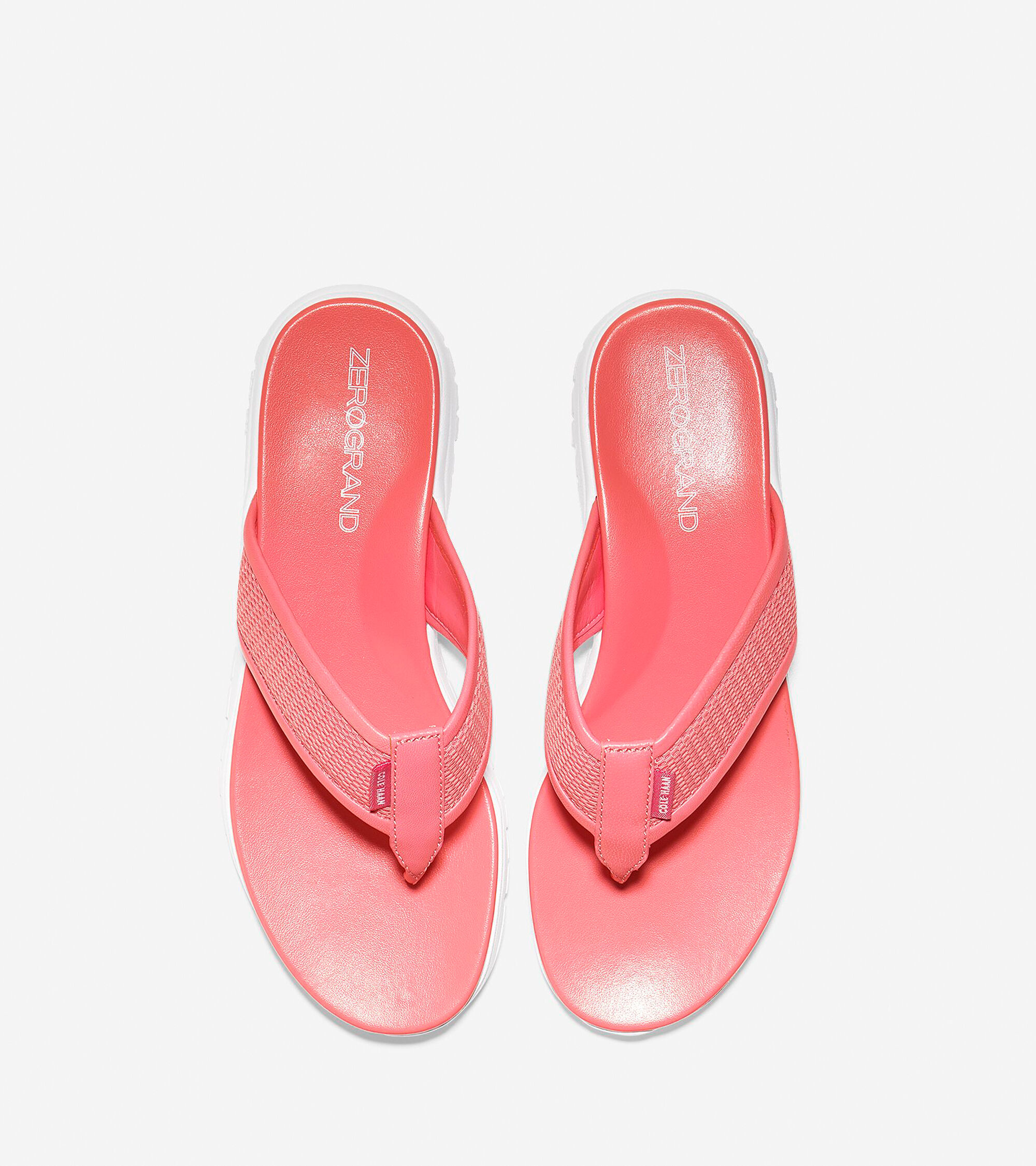 dfd3c1495131 ZEROGRAND Thong Sandals in Coral-Optic White