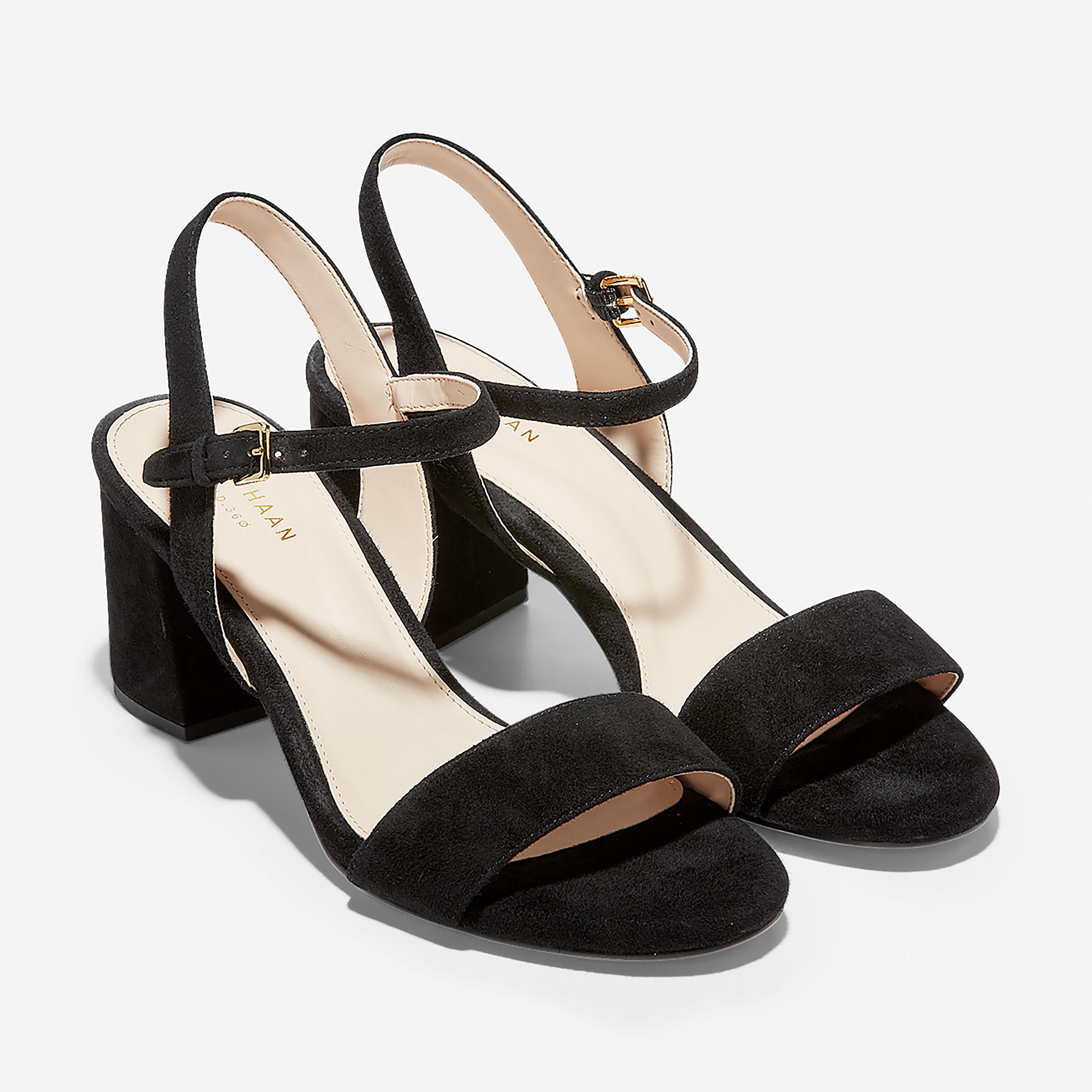 Josie Block Heel Sandal in Black Suede