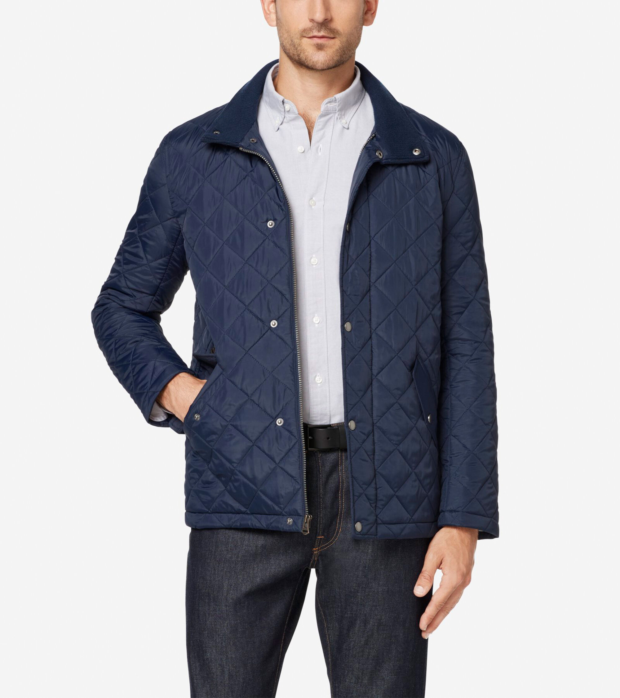 Mens Quilted Barn Jacket In Navy Cole Haan
