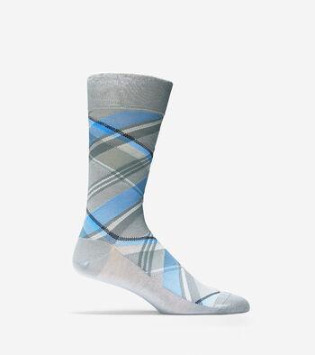 Diagonal Plaid Crew Socks