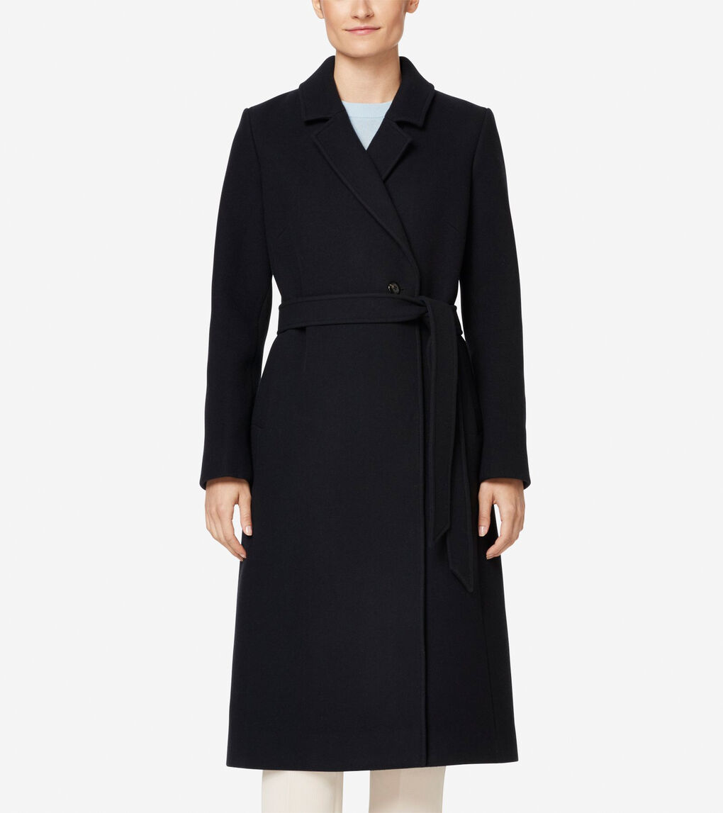 Womens Double Faced Wool Wrap Coat
