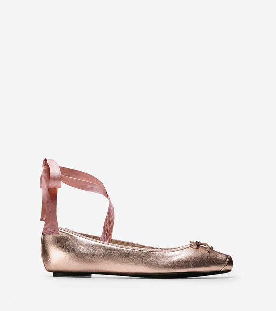 Womens Downtown Ballet Flats In Rose Gold Metallic Cole Haan