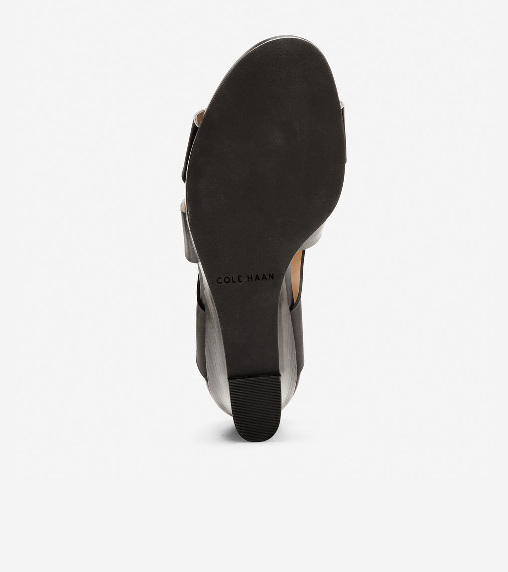 9adebb9c47 Women's Penelope Wedge Sandal (70mm) in Black Leather | Cole Haan US