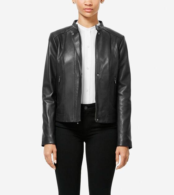 Bags & Outerwear > Italian Smooth Lambskin Racer Jacket