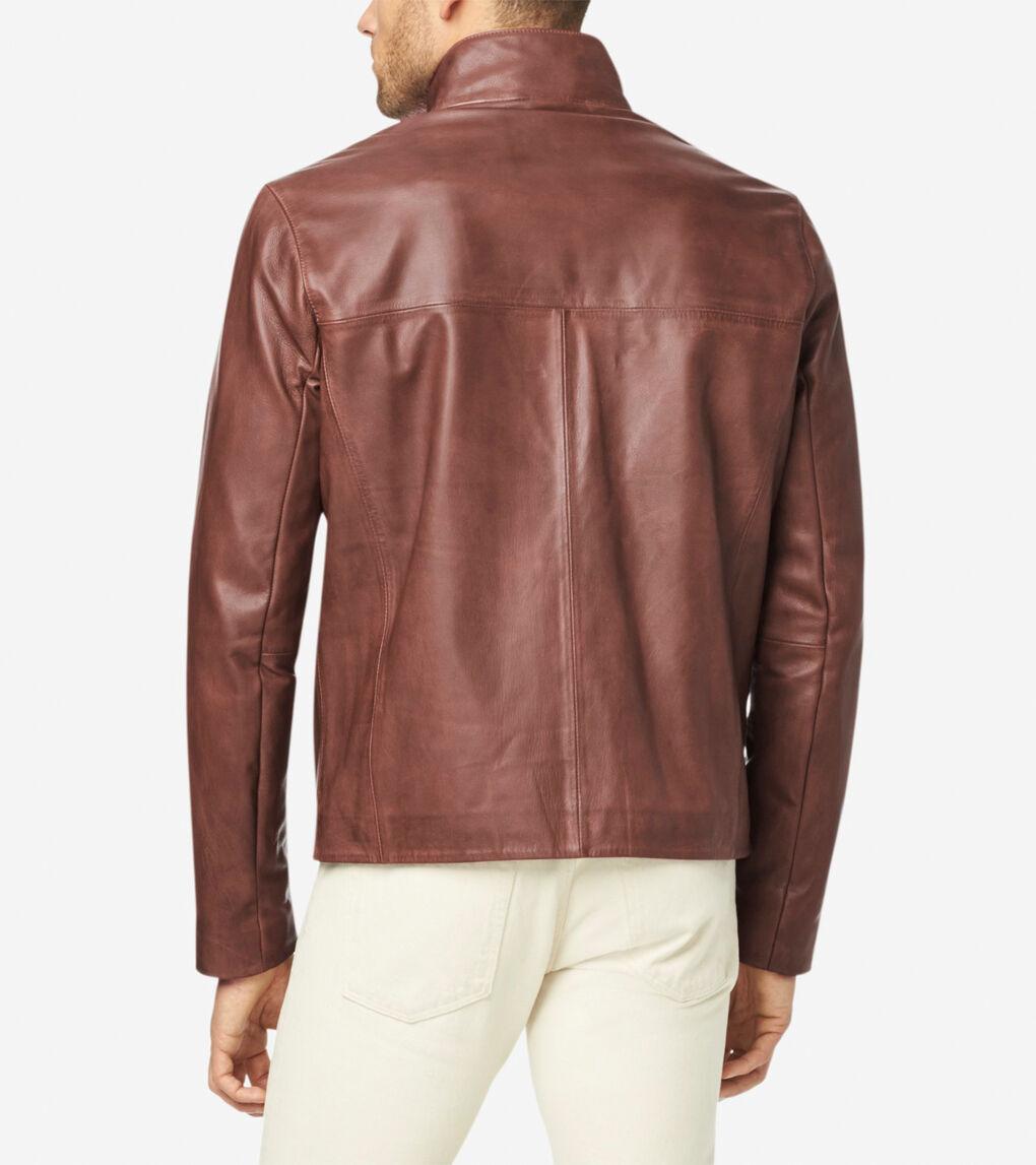 Mens Washed Leather Jacket