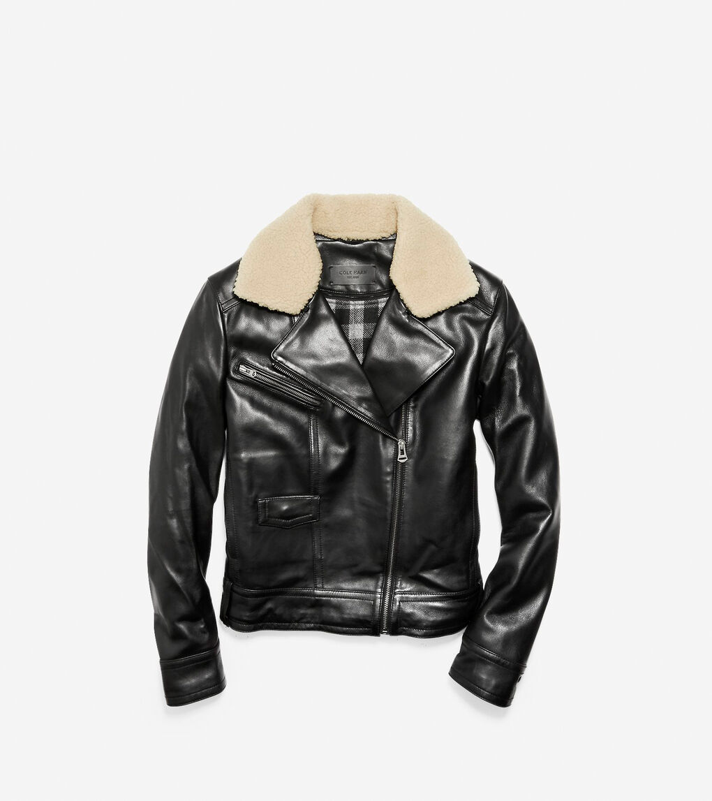 Womens Leather Moto Jacket with Shearling Collar